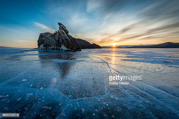 Sunrise at the frozen Lake Baikal