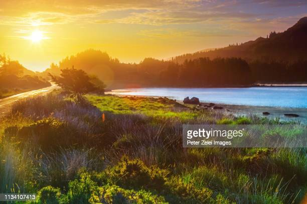 sunrise at the lake - ring of kerry stock photos and pictures