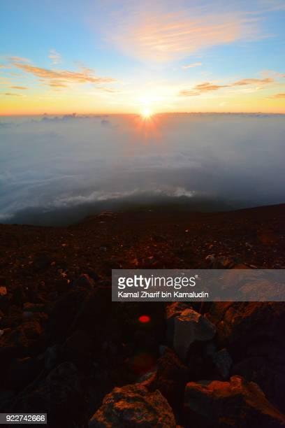 Sunrise at the peak of mt Fuji