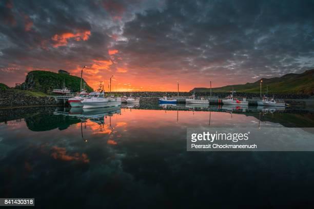 sunrise at the pier in borgarfjardarhreppur , iceland - husavik stock photos and pictures
