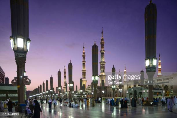 sunrise at the prophet's mosque. medina. saudi arabia. - al madinah stock pictures, royalty-free photos & images