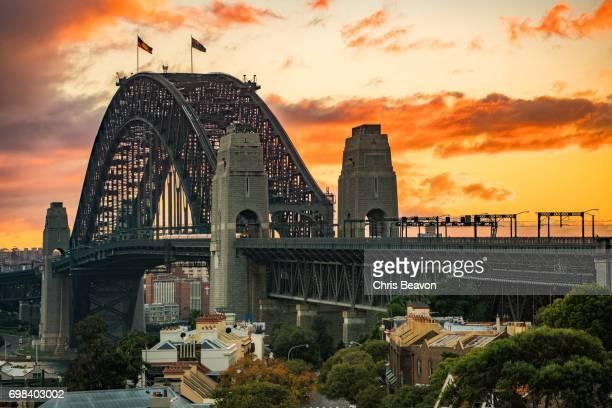 sunrise at the rocks - landscape - sydney harbour bridge stock pictures, royalty-free photos & images