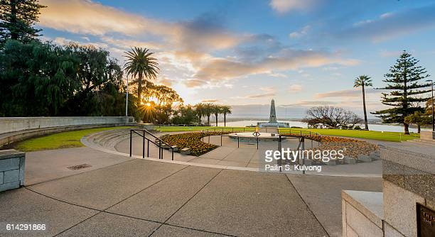 sunrise at the state war memorial, perth, western australia, australia - perth stock pictures, royalty-free photos & images