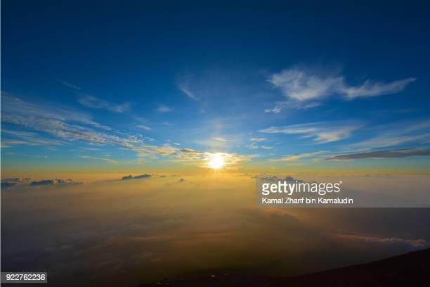 Sunrise at the top of mt Fuji