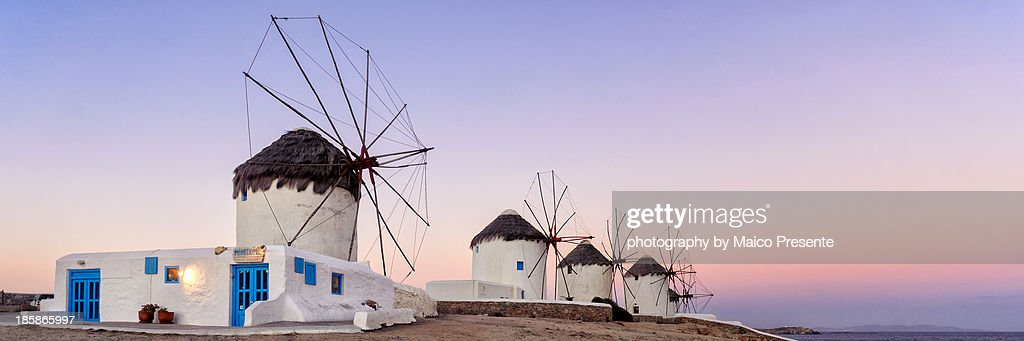 Sunrise at the windmills : Stock Photo