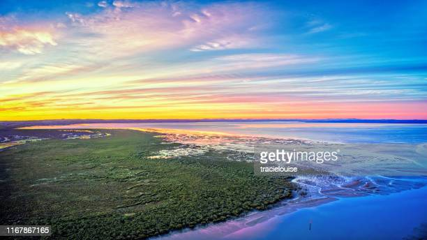 sunrise at tooradin foreshore - estuary stock pictures, royalty-free photos & images