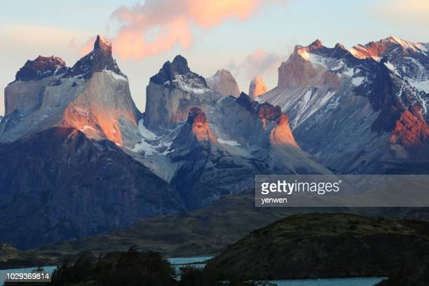 sunrise at torres del paine - torres del paine national park stock photos and pictures