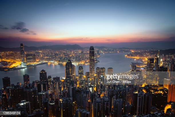 sunrise at victoria peak,hong kong - skyline stock pictures, royalty-free photos & images