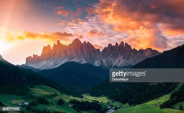 Sunrise at  Villnöss with geisler group, Alps - southtirol