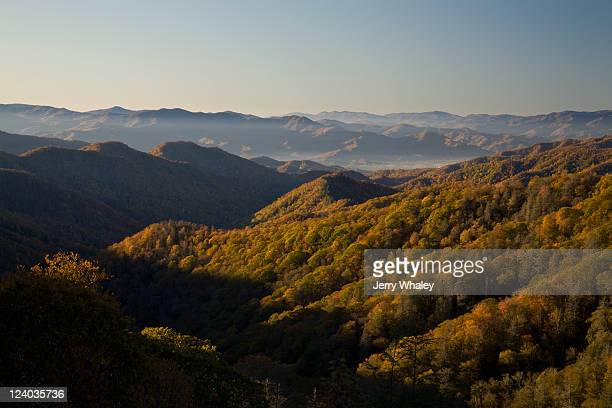 sunrise, autumn, smokies - newfound gap stock photos and pictures