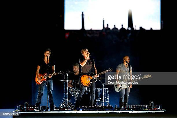 Sunrise Avenue perform at the opening ceremony during day one of the 22nd European Athletics Championships at Stadium Letzigrund on August 12 2014 in...