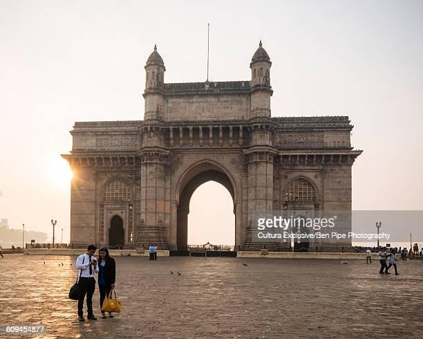 Sunrise behind The Gateway to India, Mumbai, India