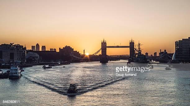 Sunrise behind Tower Bridge, London