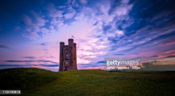 sunrise - broadway tower - worcestershire stock pictures, royalty-free photos & images