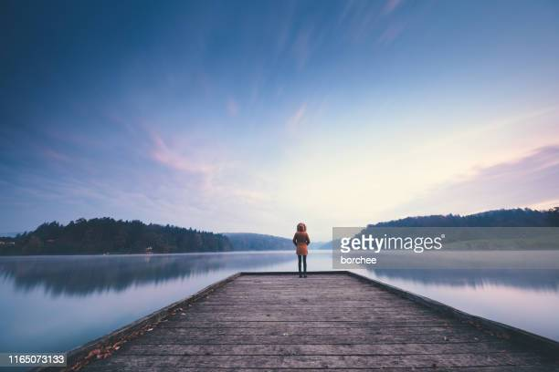 sunrise by the lake - jetty stock pictures, royalty-free photos & images