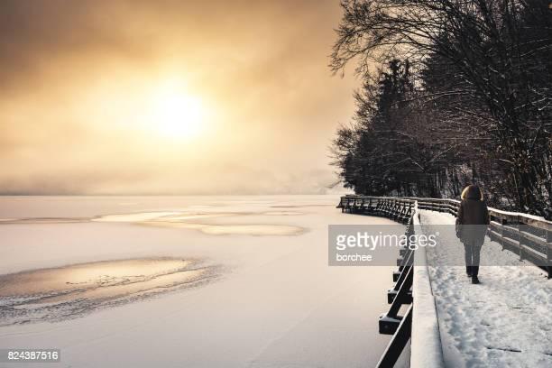 lever du soleil au bord du lac - personnage imaginaire photos et images de collection