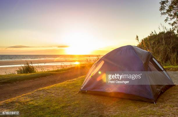 sunrise camping. - tent stock pictures, royalty-free photos & images