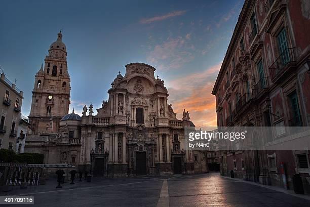 sunrise cathedral of murcia - murcia - fotografias e filmes do acervo