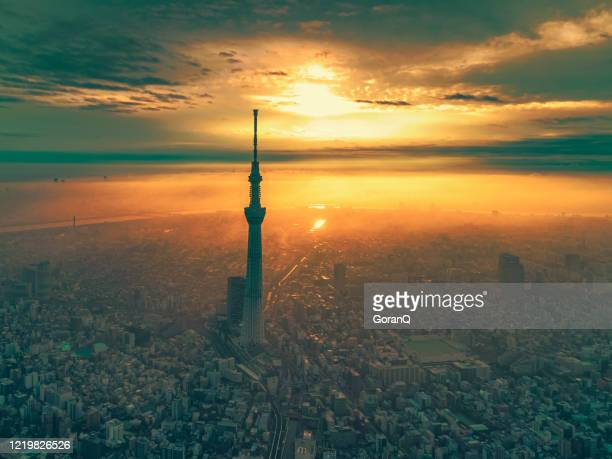sunrise cityscape of tokyo at dawn, japan - tokyo japan stock pictures, royalty-free photos & images