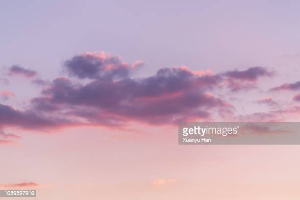 sunrise cloudscape with purple sky - morning sky stock pictures, royalty-free photos & images