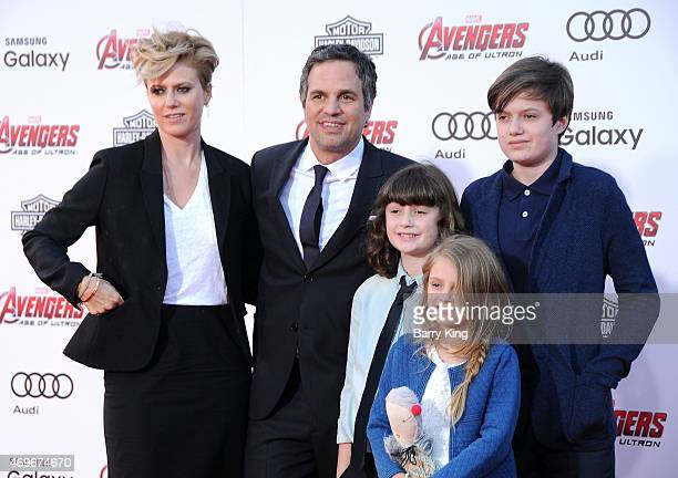 Sunrise Coigney Actor Mark Ruffalo Keen Ruffalo Bella Noche and Odette Ruffalo arrive at the Premiere Of Marvel's 'Avengers Age Of Ultron' at the...