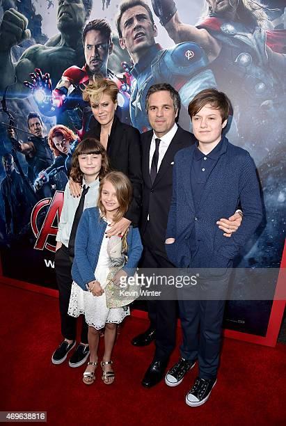 Sunrise Coigney actor Mark Ruffalo Keen Ruffalo Bella Noche and Odette Ruffalo attend the premiere of Marvel's Avengers Age Of Ultron at Dolby...