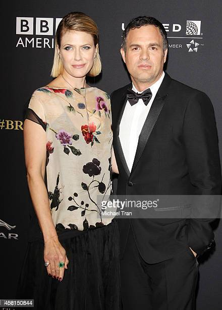 Sunrise Coigney and Mark Ruffalo arrive at the BAFTA Los Angeles Jaguar Britannia Awards held at The Beverly Hilton Hotel on October 30, 2014 in...