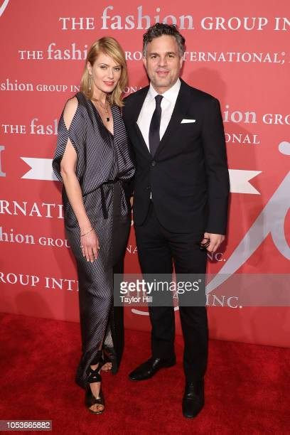 Sunrise Coigney and Mark Ruffalo attend Fashion Group International's 2018 Night of Stars Gala at Cipriani Wall Street on October 25 2018 in New York...