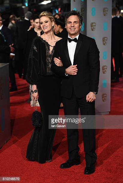 Sunrise Coigney and Mark Ruffalo attend the EE British Academy Film Awards at the Royal Opera House on February 14 2016 in London England
