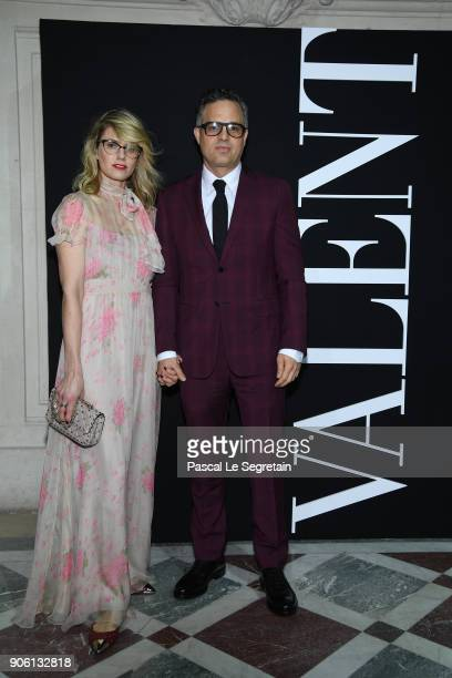 Sunrise Coigney and Mark Ruffalo attend the Valentino Menswear Fall/Winter 20182019 show as part of Paris Fashion Week on January 17 2018 in Paris...