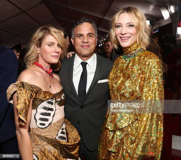 Sunrise Coigney Mark Ruffalo and Cate Blanchett attend the premiere of Disney And Marvel's 'Thor Ragnarok' on October 10 2017 in Los Angeles...