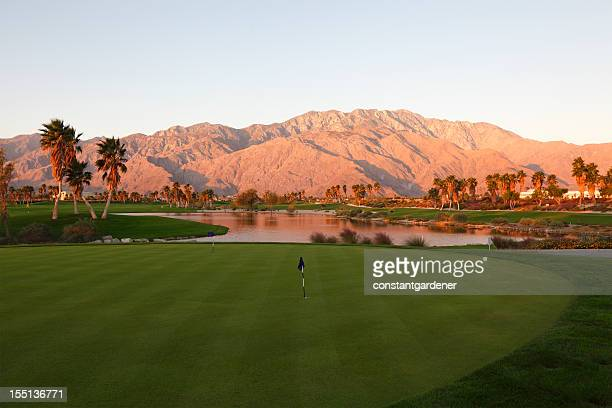 sunrise desert landscape of a golf course - palm springs stock pictures, royalty-free photos & images