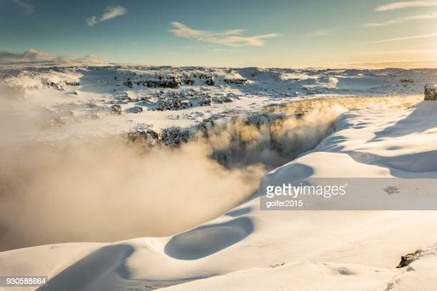 sunrise - dettifoss waterfall - north iceland - dettifoss waterfall stock photos and pictures