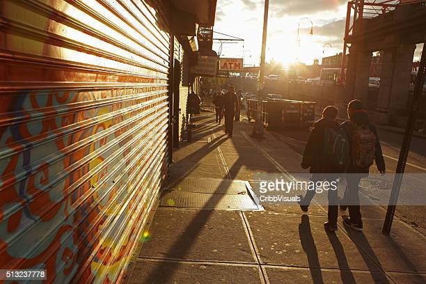 Sunrise down Delancey Street on a New York City morning