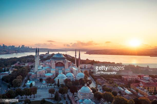 sunrise drone photo of hagia sophia in istanbul - hagia sophia stock pictures, royalty-free photos & images