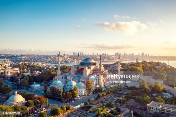 sunrise drone photo of hagia sophia in istanbul - hagia sophia istanbul stock pictures, royalty-free photos & images