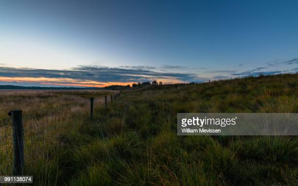 sunrise fence - william mevissen stock pictures, royalty-free photos & images