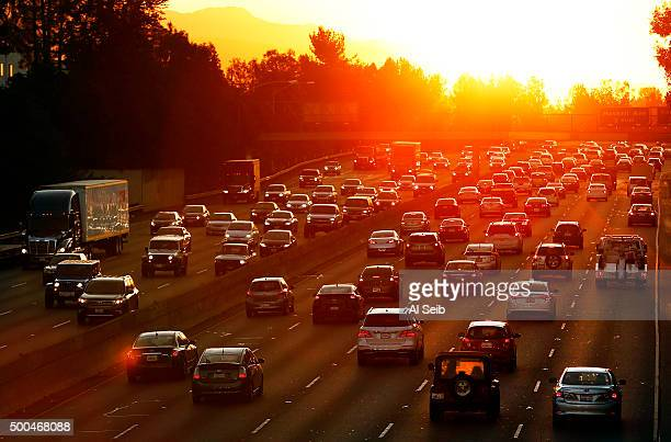 LOS ANGELES CA MARCH 27 2015 Sunrise for drivers as morning traffic begins to swell on the East and West bound 101 Freeway in the San Fernando Valley...