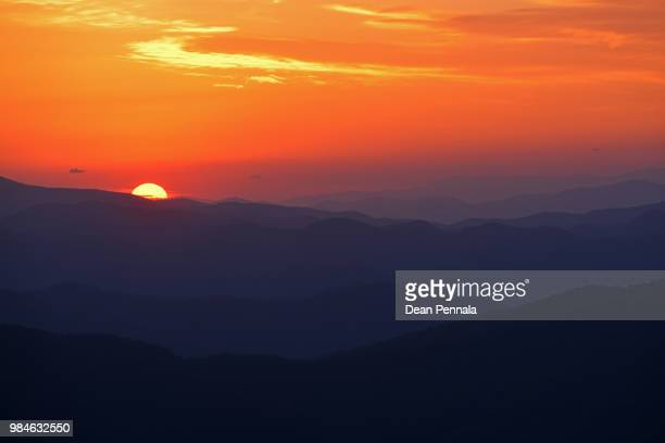 sunrise from clingman's dome - clingman's dome stock photos and pictures
