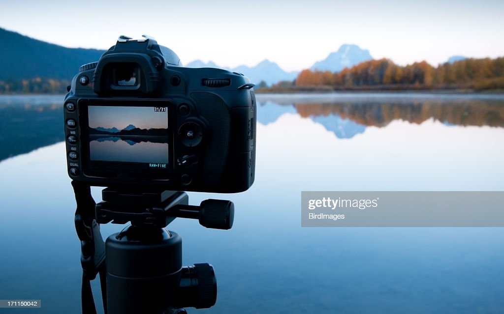 Sunrise Image in LCD - Oxbow Bend, GTNP : Stock Photo