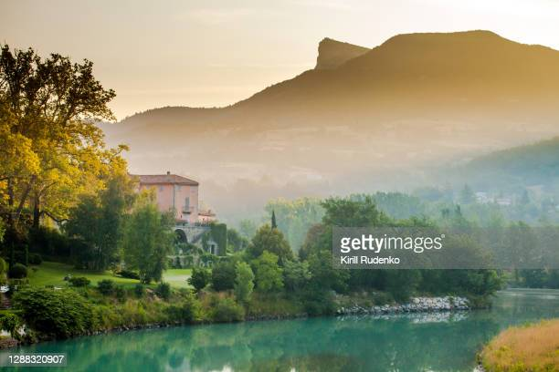 sunrise in a town of sisteron, france - france stock pictures, royalty-free photos & images