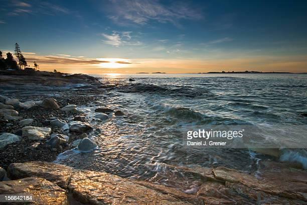 sunrise in boothbay, maine - ブースベイハーバー ストックフォトと画像