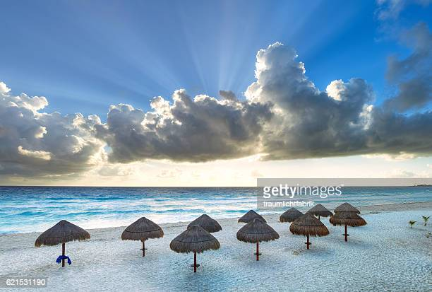 sunrise in cancun at the beach - quintana roo stock photos and pictures