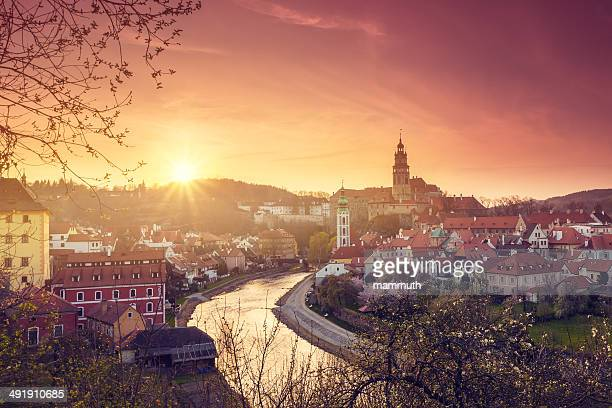 sunrise in cesky krumlov - cesky krumlov castle stock photos and pictures