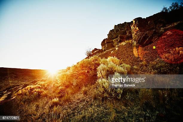 Sunrise in desert canyon