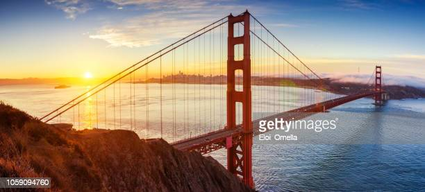 sunrise in golden gate bridge, san francisco, california. usa - san francisco california stock photos and pictures