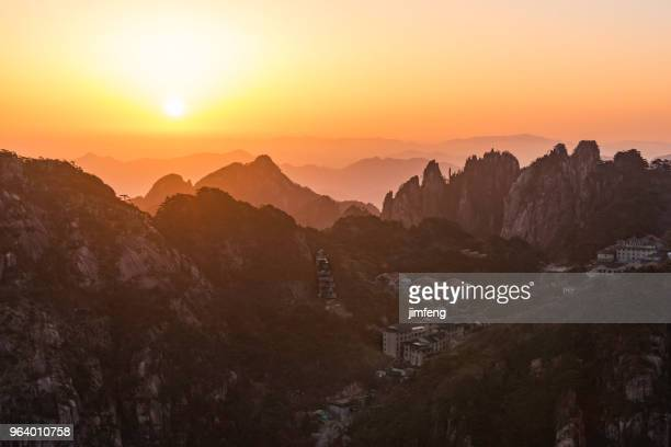 Sunrise in Huangshan mountains