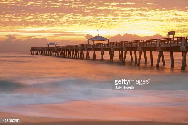 Sunrise in Jupiter, Florida, at the pier