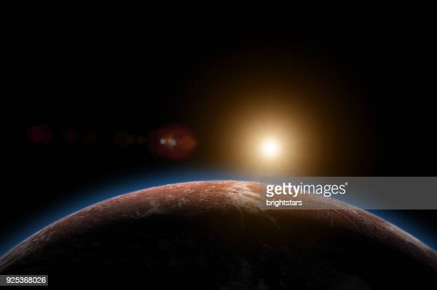 sunrise in mars having atmosphere and ice - extrasolar planet stock pictures, royalty-free photos & images