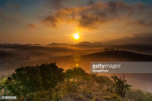 Sunrise in mist in Moc Chau, Vietnam